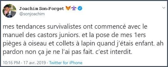 Tweet JSF Mes tendances survivalistes ont commencé avec le manuel des castors juniors