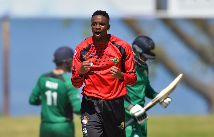 Solomzi Nqweni of Eastern Province reacts after taking a wicket during the 2016 Africa T20 Cup, Pool D match between Eastern Province and KwaZulu-Natal at Boland Park on September 25, 2016 in Paarl, South Africa.