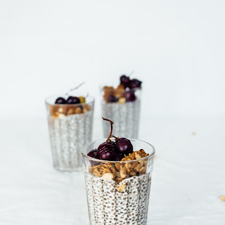 Almond Chia Pudding with Roasted Grapes
