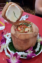 "Photo: mixed seafood curried mousse cooked in young coconut (""haw moek talay maprao awn""), Toh Plue restaurant"