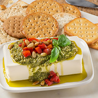 Pesto Cream Cheese Dip with Red Peppers.