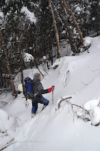 """Photo: Getting steeper on approach in about 18"""" of crust/snow."""