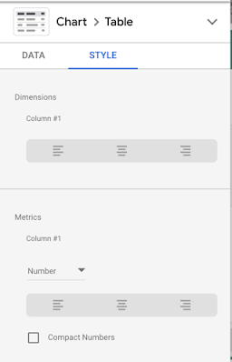 Table column alignment options