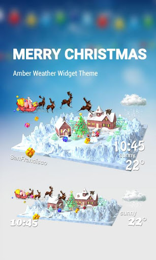 3D Christmas theme clock widge