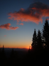 Photo: Sunset from our hut on the Long Trail, Vermont