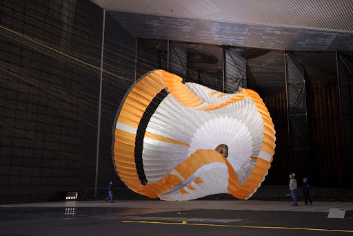 Mars Science Laboratory MSL parachuste test is the largest ever built to fly on an extraterrestrail mission.