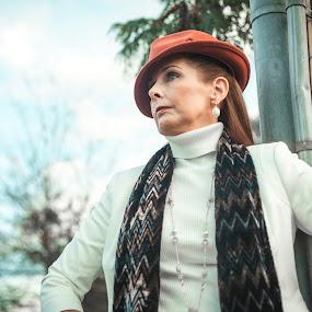 Maroon Hat by Malik Marcell - People Portraits of Women ( film, woman, teal, portrait, gate )