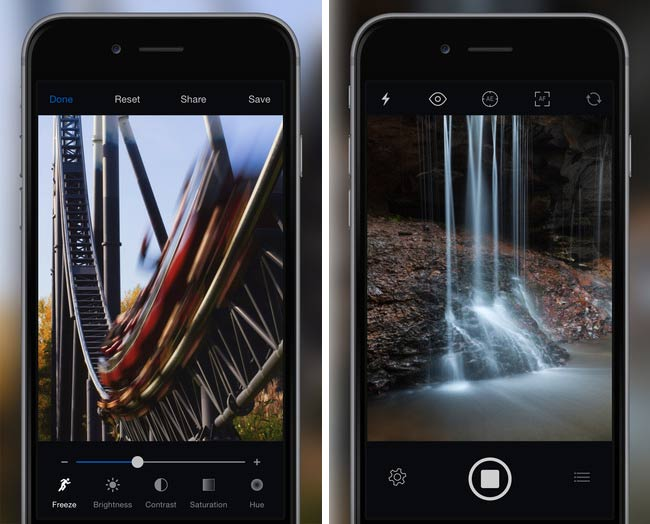 Slow Shutter Cam captures a roller coaster and waterfall: perfect for active travelers and for nature outings.