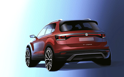 The designer sketch of the rear of the T-Cross. Picture: VOLKSWAGEN