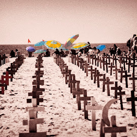 Day at the Beach by Chris Seaton - Digital Art Places ( veterans, sepia, beach, activists, memorial, umbrellas )