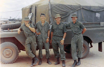 "Photo: Written on back: ""Left to Right: Gordy, Bill, Hoppie, Tony (Aussie Friends); May '68 Vietnam"""