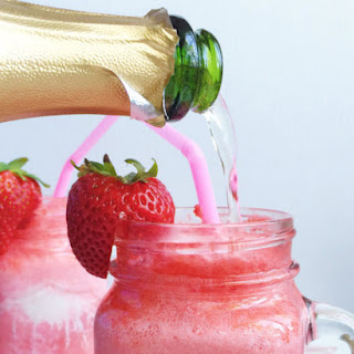 Sparkling Strawberries + Cream Champagne Floats.