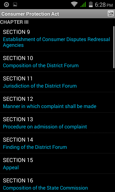 Consumer Protection Act- screenshot