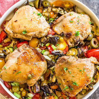 Sheet Pan Chicken with Roasted Eggplant Caponata.