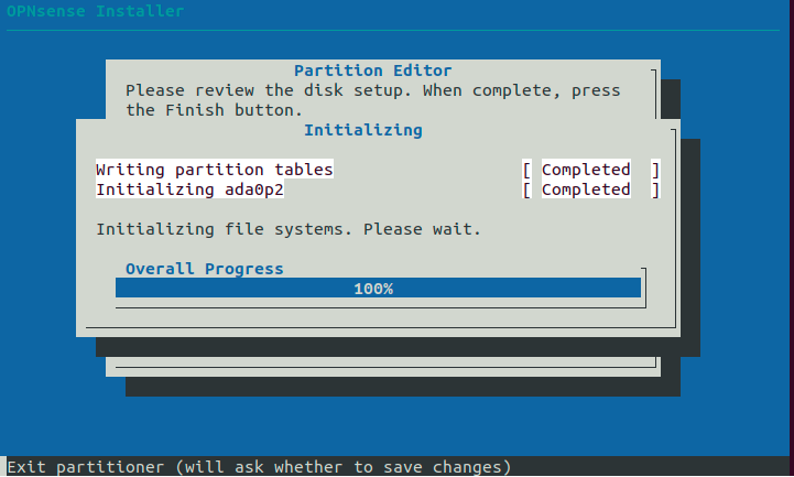 Initializing the disk.