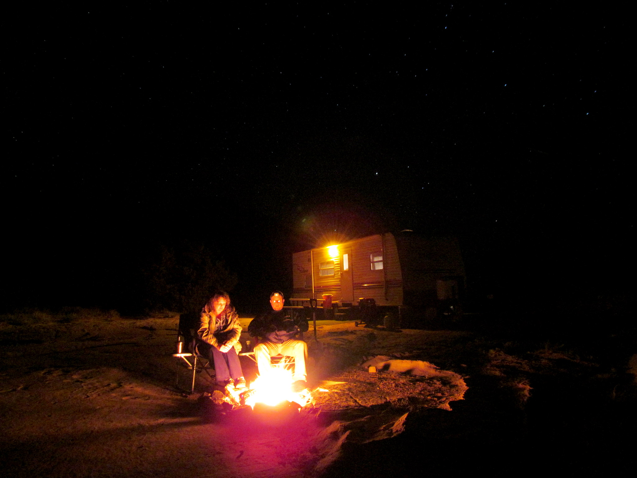 Photo: Traci and me and a camp fire