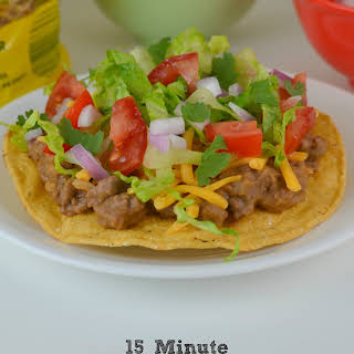 15 Minute Ground Beef and Bean Tostadas.
