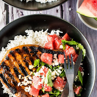Grilled Gochujang Pork Chops with Watermelon Mint Salad.