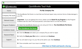 quickbooks tool hub >> fix my company file>> Run quickbooks files doctor
