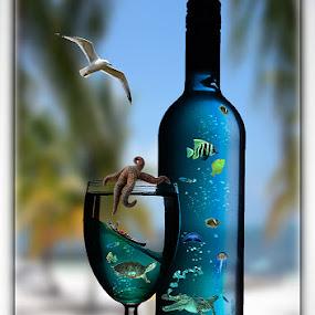 Blue tropical by Bogdan Negoita - Digital Art Things ( blue tropical, seagull, fish, glass, crocodil, botlle, ocean, boat, jellyfish )