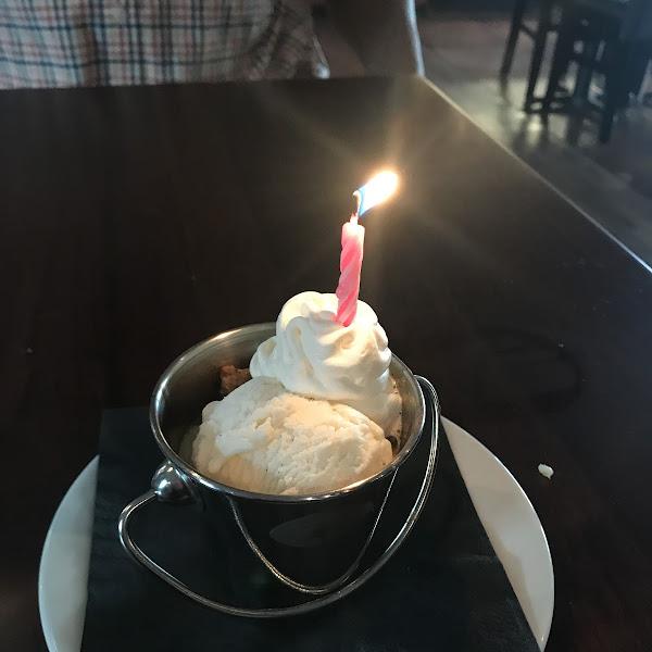 Bread pudding birthday dessert