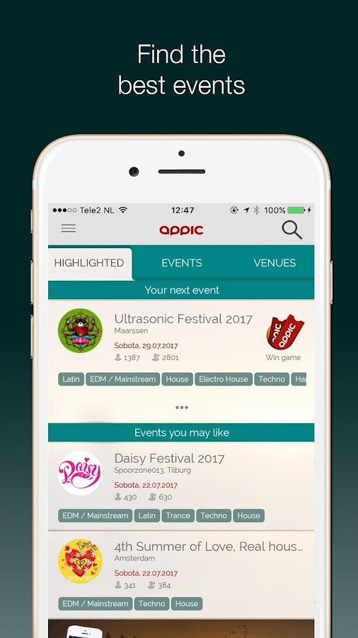 Appic - Events & Festival info- screenshot