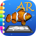AR Coloring Book. Tropical fish icon