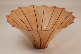 "Photo: Eliot Feldman 9 1/4"" x 5"" staved segmented vessel [maple, bloodwood]"