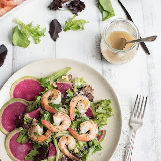 Grilled Shrimp Salad with Bourbon Vanilla Vinaigrette.