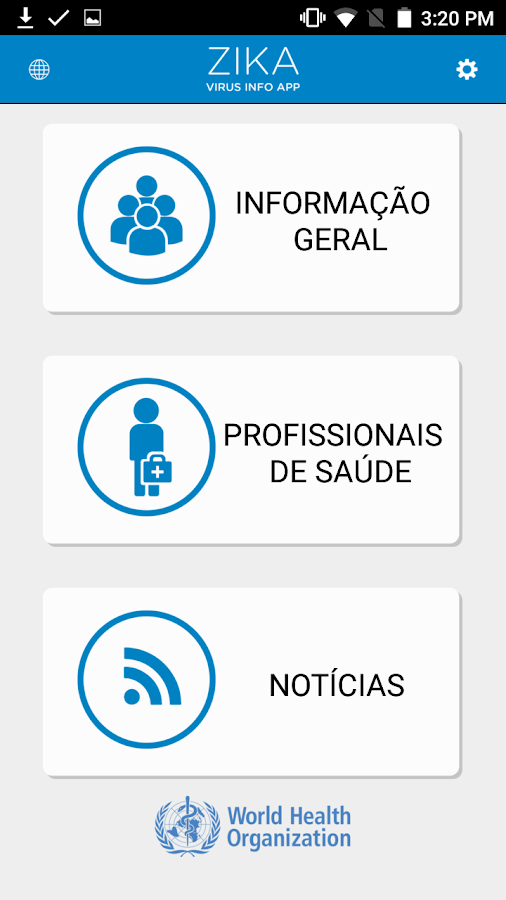 WHO Zika App: captura de tela