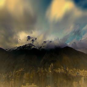 Mount Alborz,Shemran by Fereshteh Molavi - Landscapes Mountains & Hills ( clouds, hills, mounts, snow, buildings )