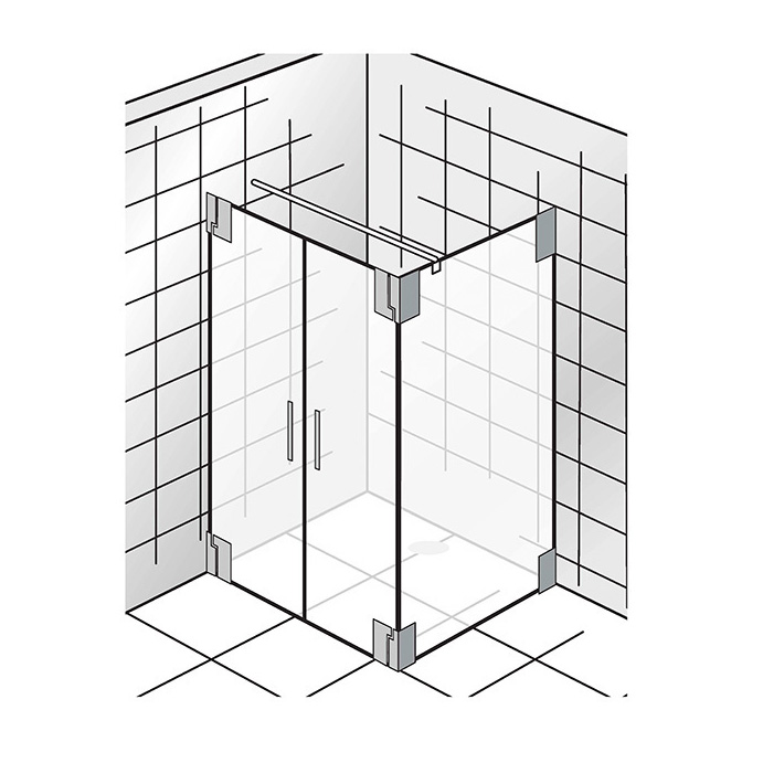Duschkabinen_K2, Pendeltuer + Seitenwand