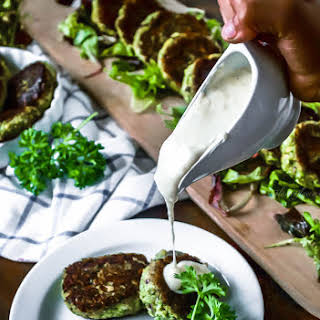 Broccoli And Corn Patties with White Sauce.