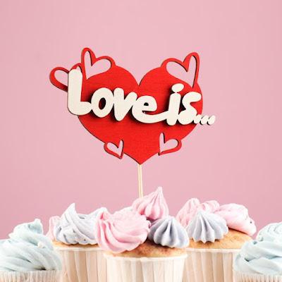 """Топпер """"Love is"""", в упаковке, красный, 15×7 см"""