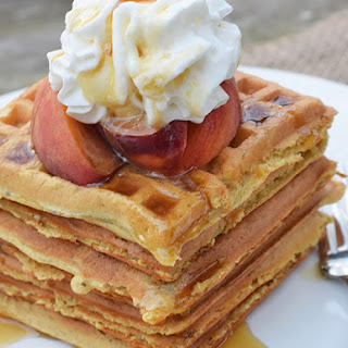 Homemade Peaches and Cream Waffles