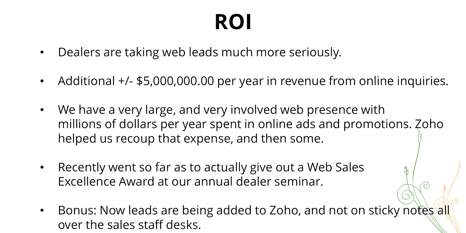 ROI for Arctic Spas using Zoho