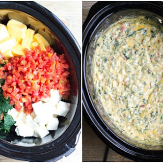 Crock Pot Spinach & Bacon Queso Dip.