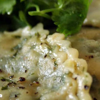 Coriander Ravioli With Pumpkin & Cottage Cheese Filling.
