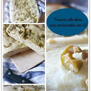 Focaccia (Italian pizza bread) with olives