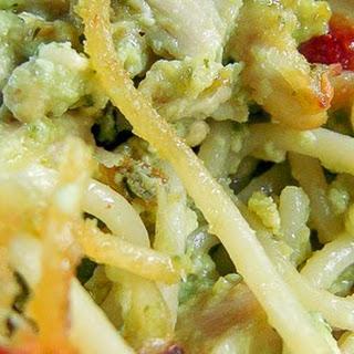 Cheesy Chicken Pesto Pasta.