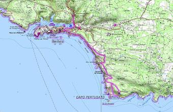 Photo: trasa prechádzky z Bonifácia okolo bielych útesov ku krásnej piesočnej pláži St. Antoine a majáku Capo Pertusato