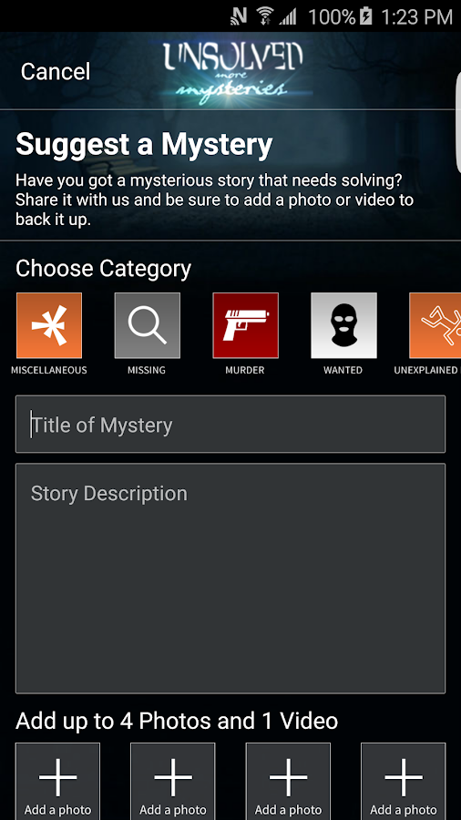 Unsolved Mysteries Mobile App- screenshot