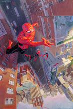 Photo: SPECTACULAR SPIDER-MAN #14 COVER. 2003. Oil on masonite, 16 × 24″.