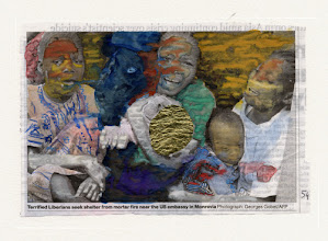 Photo: Terrified Liberians. Water color and gold leaf on newspaper, (159 x 107 mm).