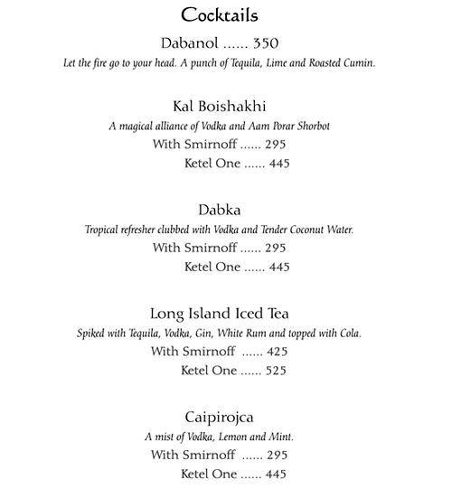 Oh! Calcutta, Silokhera menu 4
