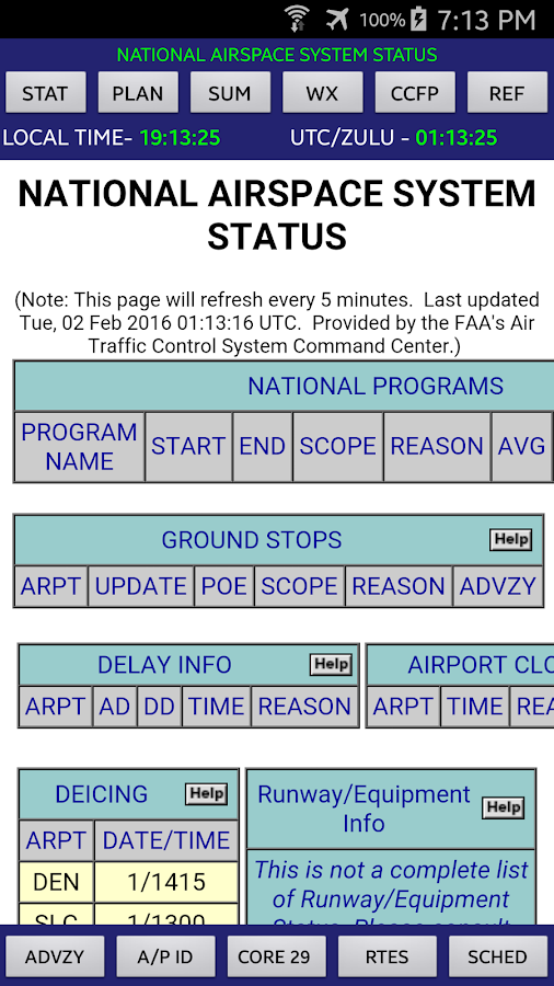 National Airspace System Stat- screenshot