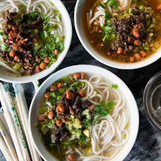 Hainanese Rice Noodle Soup with Pork and Pickled Bamboo (Bau Luo Noodles).