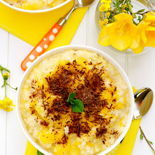 Mango Rice Pudding with Chocolate Shavings