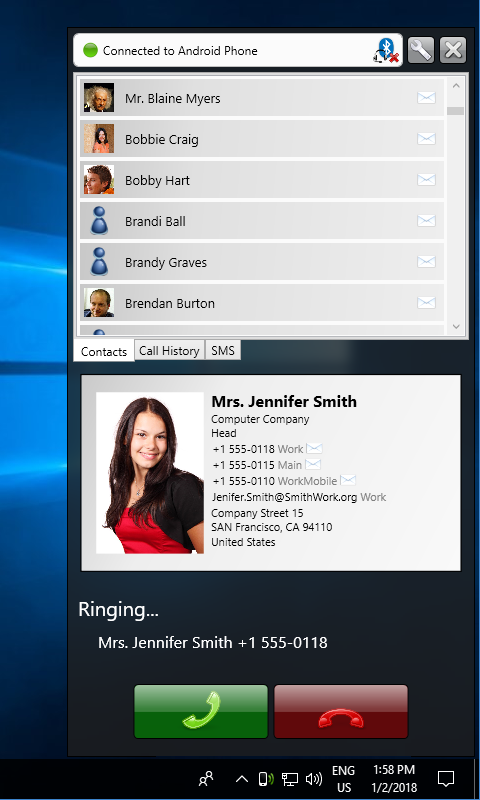 Remote Phone Call Trial: screenshot