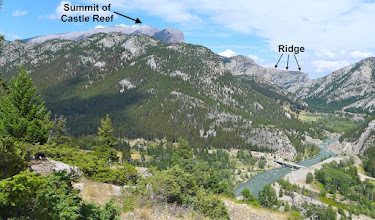 "Photo: View of ridge from Gibson Dam overlook. Actually the peak I have labelled as ""Summit of Castle Reef"" is not the real summit - the true summit is a bit to the left of it."